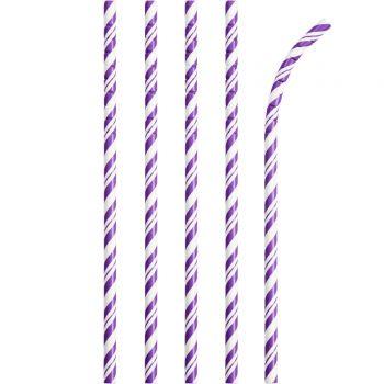 24 Pailles papier pliables rayures violette