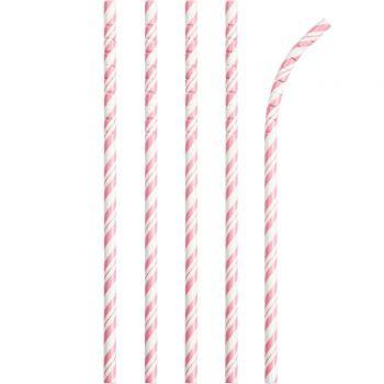 24 Pailles papier pliables rayures rose