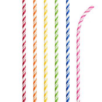 24 Pailles papier pliables rayures multicolore