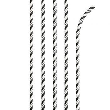 24 Pailles papier pliables rayures noire