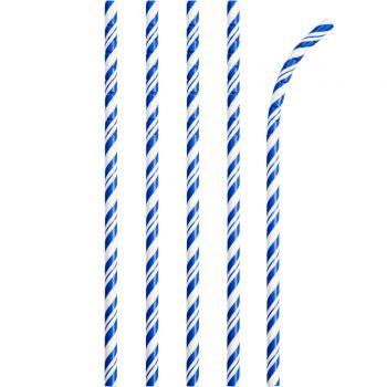 24 Pailles papier pliables rayures bleu