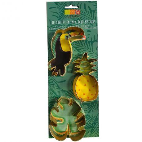 Découpoir inox sur le thème tropical avec 1 toucan (9cm x 6/4cm), 1 ananas (10cm x 4.5cm) et 1 feuille tropicale (8cmx7cm)...