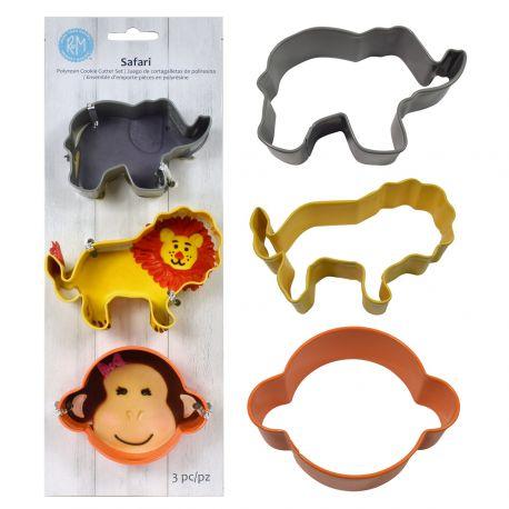 Assortiment de 3 emporte pièces en métal coloré en forme d'animaux de la jungle, 1 tête de singe, 1 lion et 1 éléphant