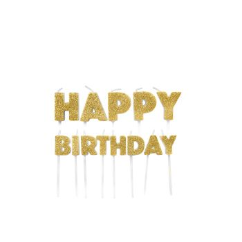 13 Bougies pics Happy Birthday or pailleté