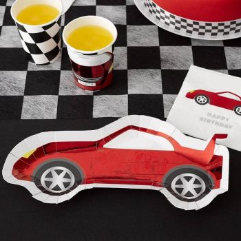 8 assiettes voiture racing rouge