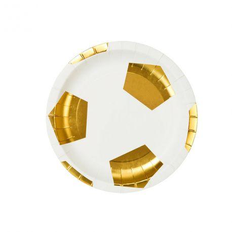 8 Superbes petites assiettes en carton à l'effigie d'un ballon d'or pour une belle décoration de table sur le thème footDimensions :...