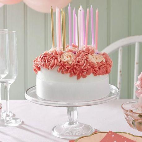 16 bougies avec bobêches dans les tons rose et doré pour une belle décoration de gâteau d'anniversaireLongueur: 10cm