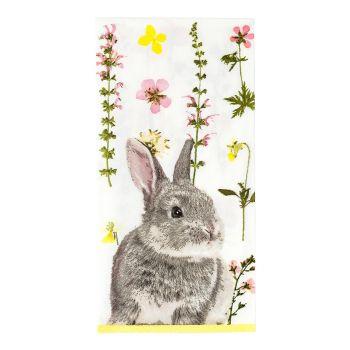 20 serviettes en papier lapin fleurs