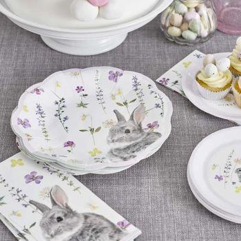12 petites assiettes lapin fleurs