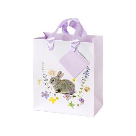 3 magnifiques cabas en carton pour une belle décoration de table de pâquesDécor lapin avec fleurs des champsDimensions : 16.5 x...