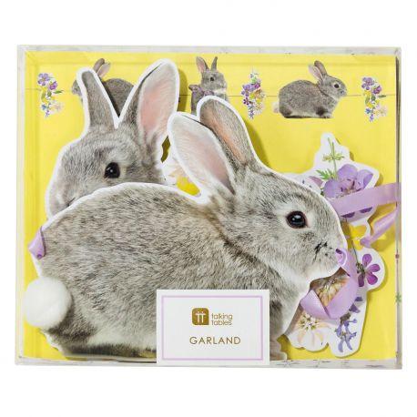 Guirlande de 16 lapins en carton pour une belle décoration de pâquesDécor lapin avec fleurs des champsDimensions : Longueur 3...