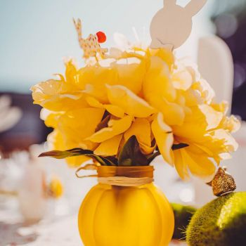 Bouquet 3 pivoine jaunes en tissu