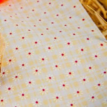 Chemin de table vichy jaune marguerite