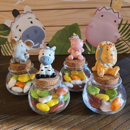 4 superbes pots en verre avec bouchon en liège surplombé de figurines en résine en forme d'animaux de la jungle (lion, zèbre, hippo et...