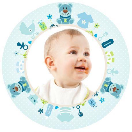 Disque sucre décor Bébé Bleu imprimée avec de l'encre alimentaire pour décorer vos gâteaux d'anniversaires. Diamètre 19 cm  Peut être...