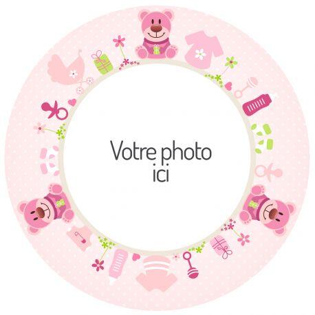 Disque sucre décor Bébé Rose imprimée avec de l'encre alimentaire pour décorer vos gâteaux d'anniversaires. Diamètre 19 cm  Peut être...