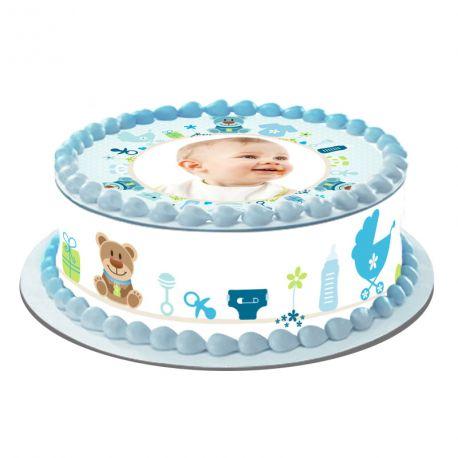 Kit décor en sucre Easycake Bébé Bleu pour réaliser un gâteau personnalisé rond en 1 clin d'oeil ! Prévu pour un gâteau d'un diamètre de...