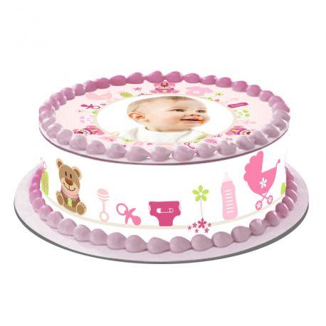 Kit décor en sucre Easycake Bébé Rose pour réaliser un gâteau personnalisé rond en 1 clin d'oeil ! Prévu pour un gâteau d'un diamètre de...