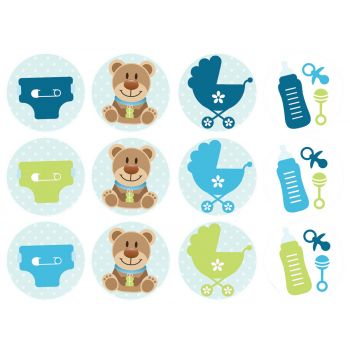 12 Mini disques en sucre Bébé Bleu