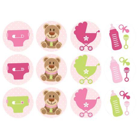 12 mini décors sur sucre pour décorer vos petits gâteaux individuels ou cupcakes. Diamètre 5 cm Peuvent être conservés 6 mois après la...