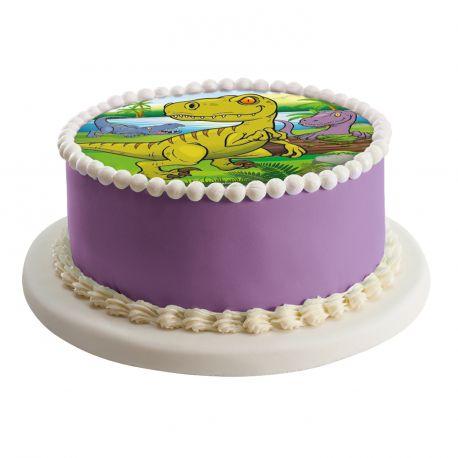 Disque azyme à l'éffigie de Dinosaure pour la déco de vos gâteaux d'anniversaire.Simple et rapide à poser, le disque azyme est 100%...