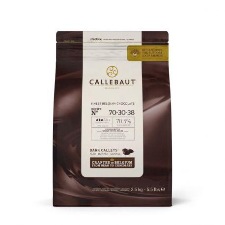 Paquet de 2.5 KG de galets de chocolat extra noir 70% à fondre pour réaliser toutes vos recettes à base de chocolat !Certifié casher