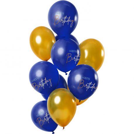 Bouquet de 12 ballons latex de couleur bleu et or avec inscription Happy BirthdayDimension des ballons Ø30cmLivré non gonflé