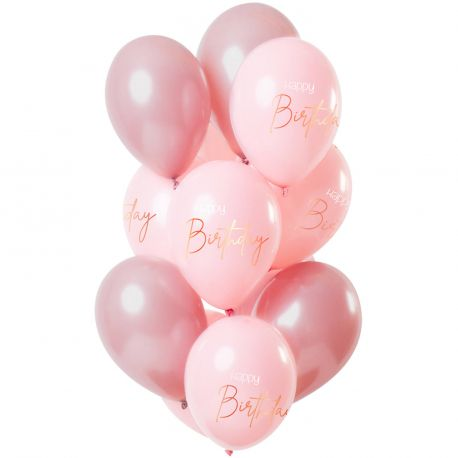 Bouquet de 12 ballons latex de couleur tons rose avec inscription Happy BirthdayDimension des ballons Ø30cmLivré non gonflé