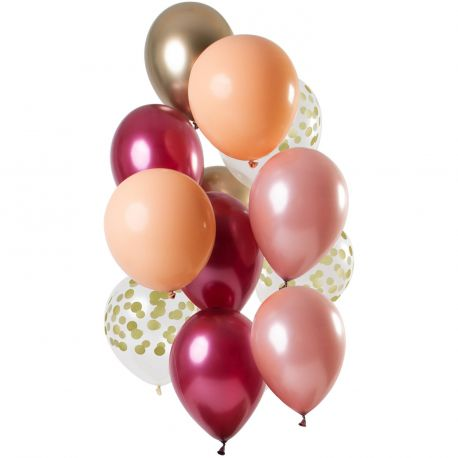 Bouquet de 12 ballons latex assortis avec ballons rubis, gold rose, pêchet, or et pois orDimension des ballons Ø30cmLivré non...