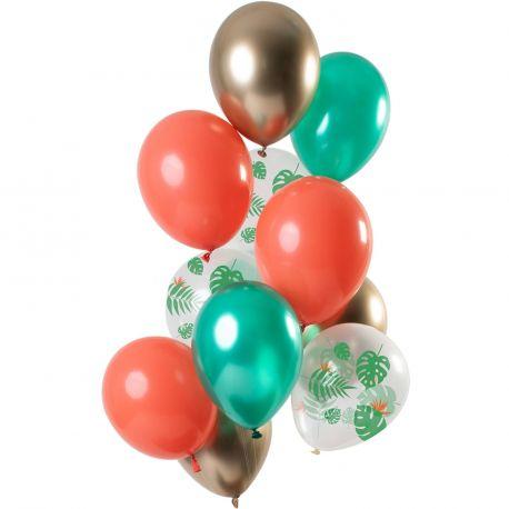 Bouquet de 12 ballons latex assortis avec ballons corail, vert , or et tropicalDimension des ballons Ø30cmLivré non gonflé