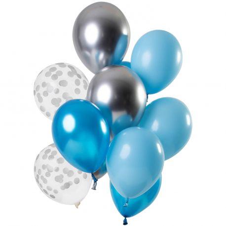 Bouquet de 12 ballons latex assortis avec ballons bleu bébé, bleu foncé, argent et pois argentDimension des ballons Ø30cm