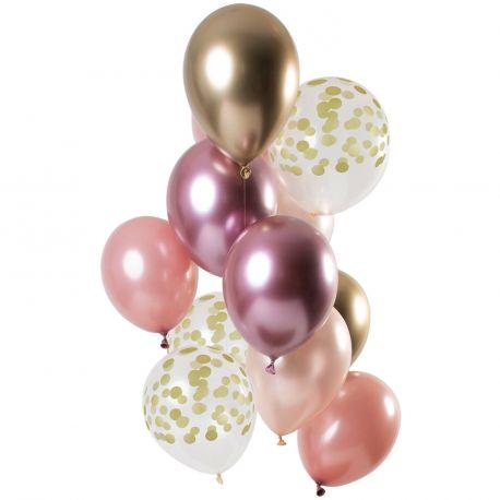 Bouquet de 12 ballons latex assortis avec ballons rose, gold rose, or et pois orDimension des ballons Ø30cm