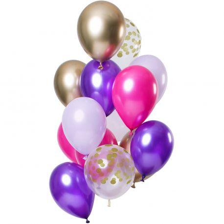 Bouquet de 12 ballons latex assortis avec ballons violet, fuchsia, blanc, or et pois orDimension des ballons Ø30cm