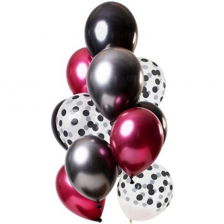 Bouquet de 12 ballons latex assortis avec ballons noir, rubis et pois noirDimension des ballons Ø30cmLivré non gonflé