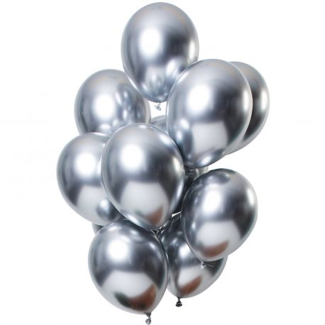 Bouquet de 12 ballons latex métallique argentésDimension des ballons Ø30cmLivré non gonflé