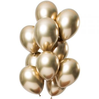 Bouquet 12 ballons effet metal or