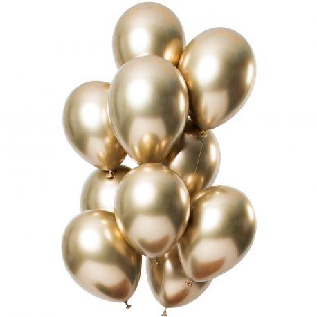 Bouquet de 12 ballons latex métallique doréesDimension des ballons Ø30cmLivré non gonflé
