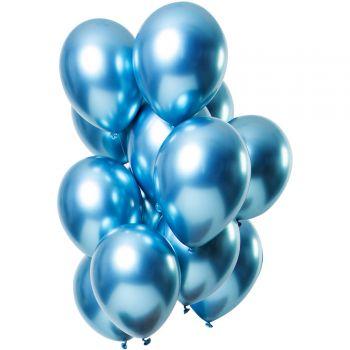 Bouquet 12 ballons effet metal bleu