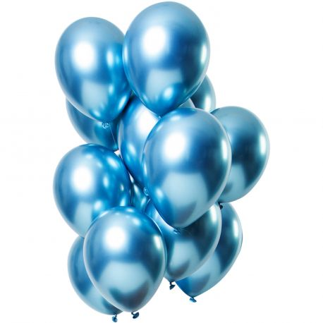 Bouquet de 12 ballons latex métallique bleuDimension des ballons Ø30cm