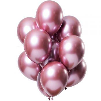 Bouquet 12 ballons effet metal rose
