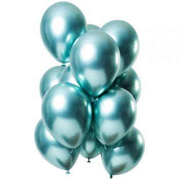 Bouquet 12 ballons effet metal vert