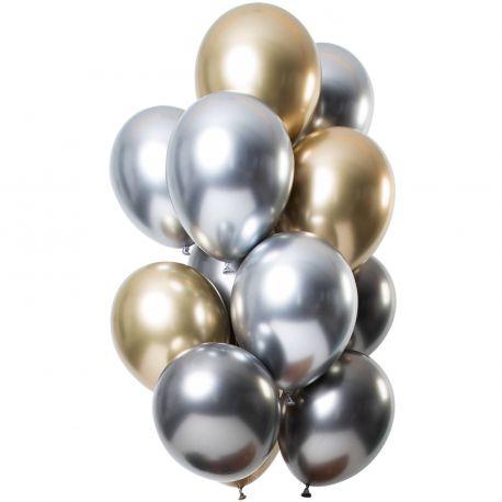 Bouquet de 12 ballons latex métallique argent et orDimension des ballons Ø30cmLivré non gonflé