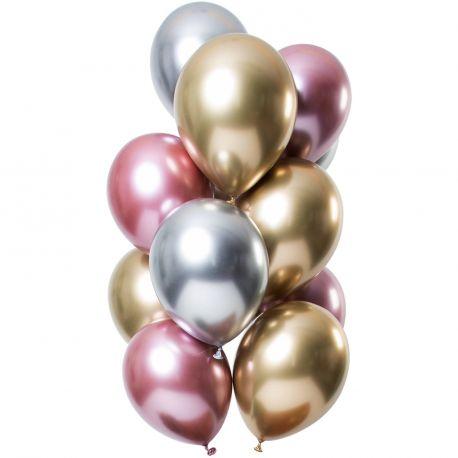 Bouquet de 12 ballons latex métallique argent ,or et roseDimension des ballons Ø30cm