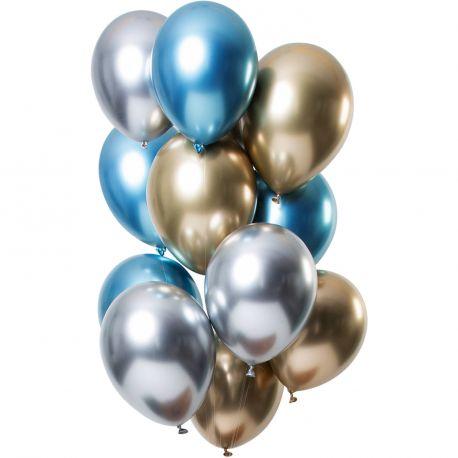 Bouquet de 12 ballons latex métallique argent, or et bleuDimension des ballons Ø30cmLivré non gonflé
