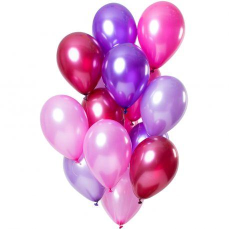 Bouquet de 12 ballons latex de couleur tons pink métallisés, contient des ballons, lavande, violet, rose,rubis et fuchsiaDimension...
