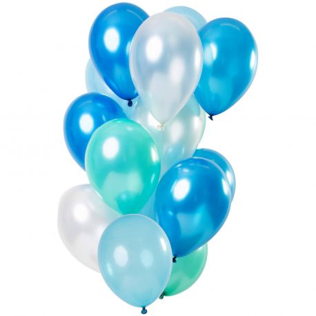 Bouquet de 12 ballons latex de couleur tons bleus métallisés, contient des ballons, bleu, turquoise, bleu clair et blancDimension...