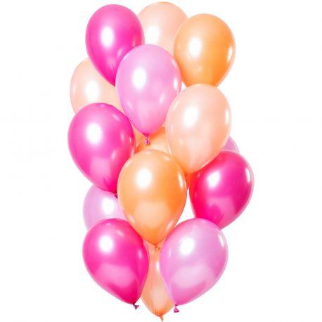 Bouquet de 12 ballons latex de couleur tons flamingo métallisés, contient des ballons, fuchsia, rose, pêcheDimension des ballons...