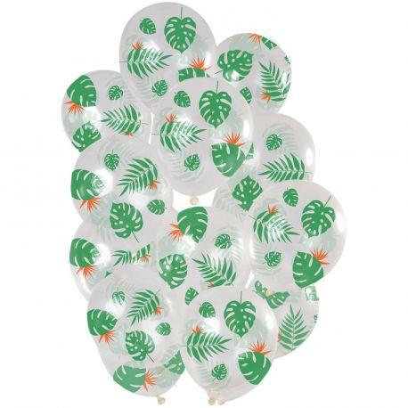 Bouquet de 15 ballons latex transparent à pois argentDimension des ballons Ø30cm