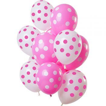 Bouquet 12 ballons à pois rose et blanc