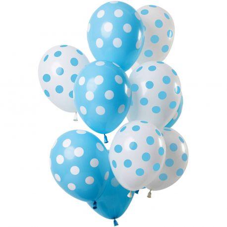 Bouquet de 12 ballons latex à pois bleu et blancDimension des ballons Ø30cmLivré non gonflé